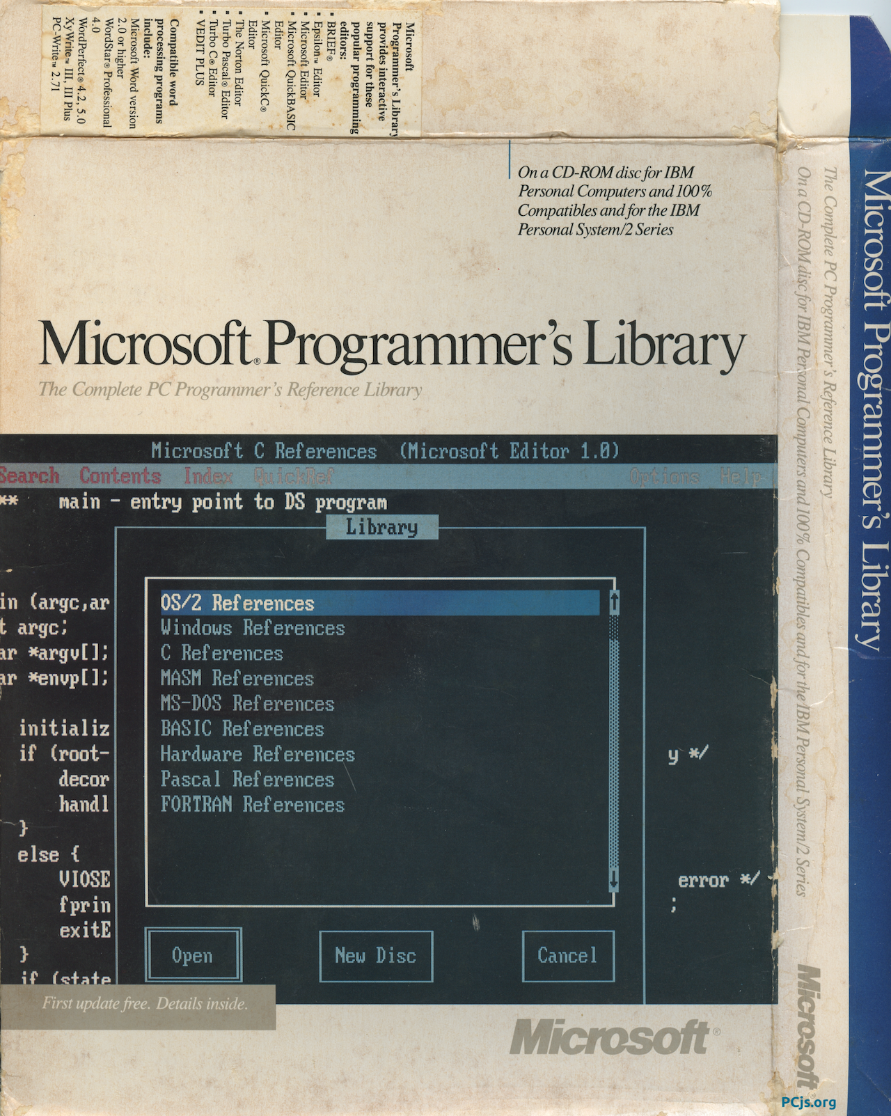 Microsoft Programmer's Library 1.0 - Box Front